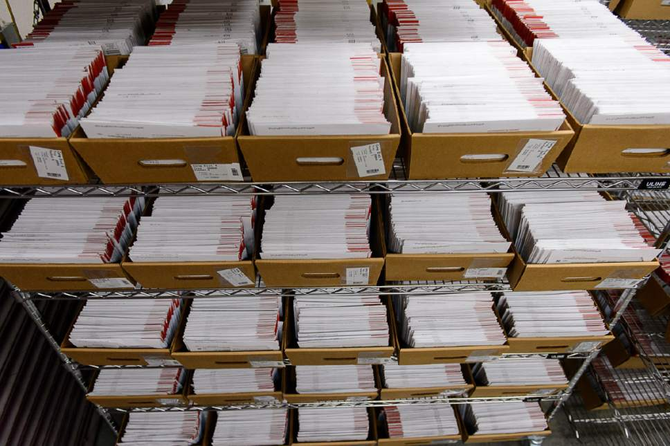 Trent Nelson  |  Tribune file photo Tens of thousands of mail in ballots have already arrived at the Salt Lake County Government Center in Salt Lake City, Tuesday October 18, 2016.