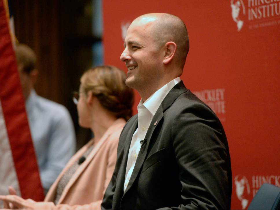 Al Hartmann  |  The Salt Lake Tribune Evan McMullin, a conservative independent presidential candidate, appears at the Hinckley Institute of Politics at the University of Utah Wednesday September 1.