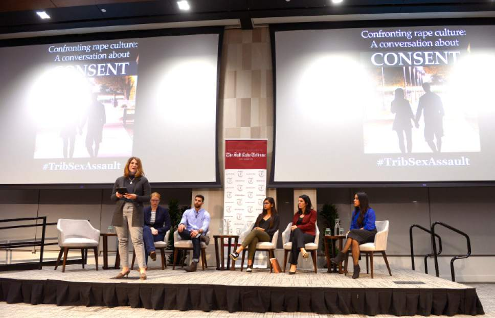 "Leah Hogsten  |  The Salt Lake Tribune The Salt Lake Tribune's panel discussion  ""Confronting Rape Culture: A Conversation about Consent,"" that discussed consent and how to change cultures that foster sexual assault at the University of Utah's S.J. Quinney College of Law, Wednesday, November 2, 2016."