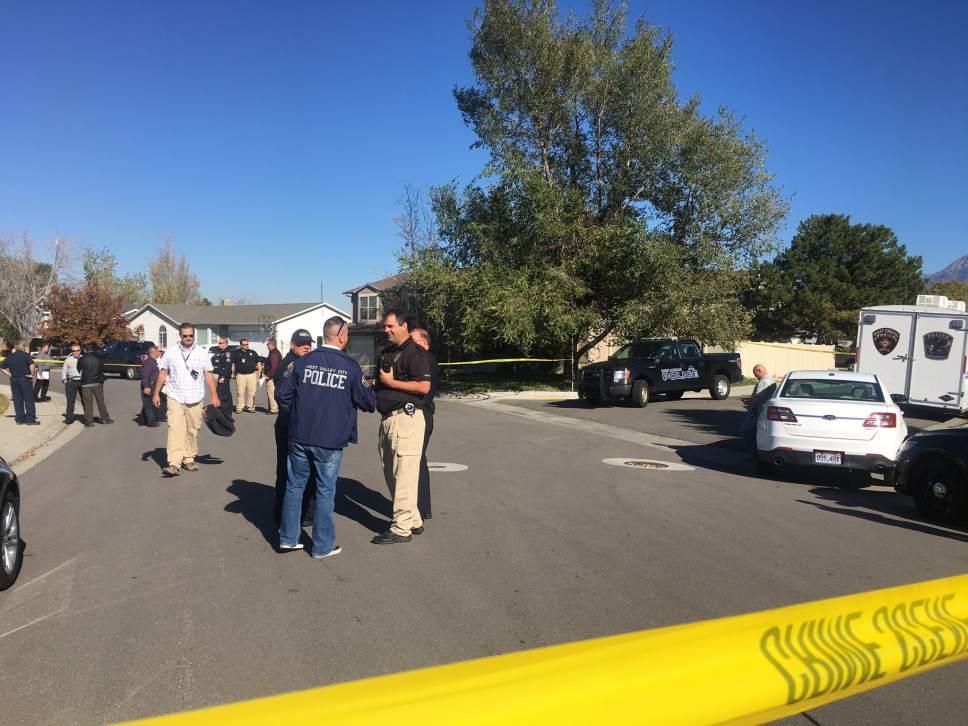 Mariah Noble | The Salt Lake Tribune  The scene of a police shooting in West Jordan on Wednesday, Nov. 2, 2016.