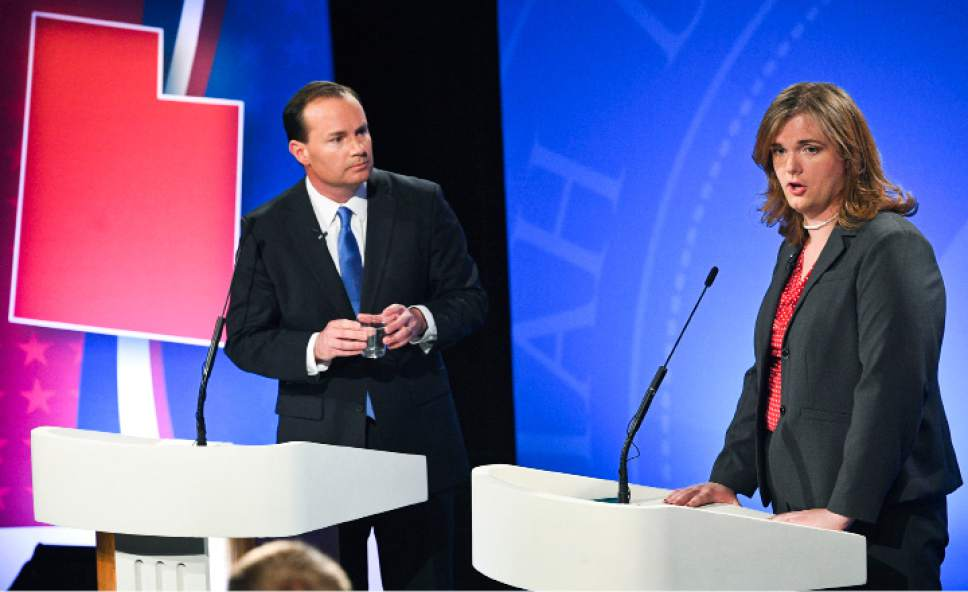 Isaac Hale     Pool Photo  Democratic candidate Misty Snow answers a question as Republican candidate Mike Lee listens during the U.S. Senate Debate on Wednesday, Oct. 12, 2016 at KBYU studios on the campus of Brigham Young University in Provo.