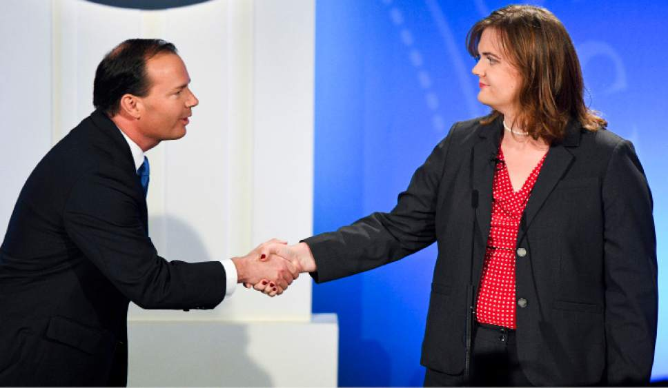 Isaac Hale     Pool Photo  Republican candidate Mike lee shakes hands with Democratic candidate Misty Snow during the U.S. Senate Debate on Wednesday, Oct. 12, 2016 at KBYU studios on the campus of Brigham Young University in Provo.