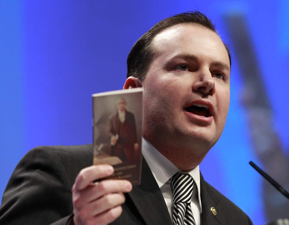 AP file photo Sen. Mike Lee, R-Utah, opposes a vote or hearing on Supreme Court nominee Merrick Garland.