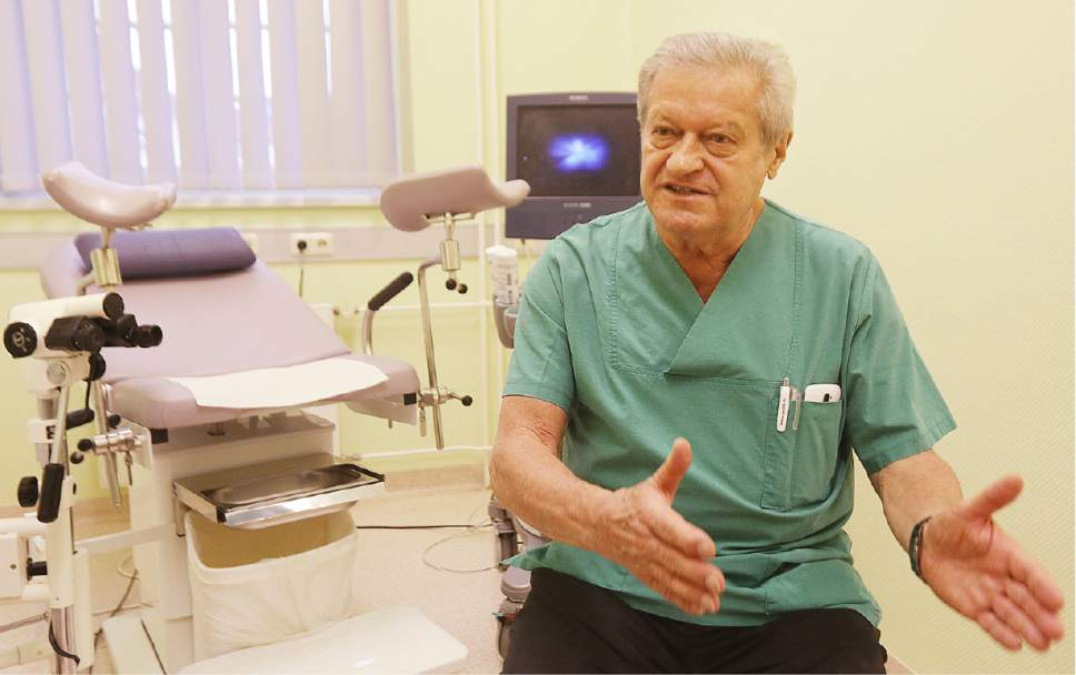 In this photo taken Thursday, Oct. 27, 2016, gynecologist, doctor Janusz Rudzinski, a Pole who has lived and worked in Germany for 35 years, is pictured in his surgery at the city hospital in Prenzlau, Germany. Up to 20 women from Poland come to the hospital every week to terminate pregnancy because Poland's law, one of the most restrictive in Europe, bans abortion except for cases when the woman's health or life is in danger, the pregnancy results from crime like rape or the fetus is incurably damaged. (AP Photo/Czarek Sokolowski)
