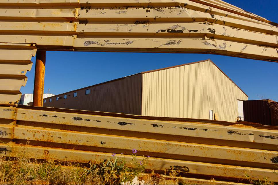 Trent Nelson  |  The Salt Lake Tribune Industrial buildings on Lot 19, Hildale, Wednesday September 14, 2016.