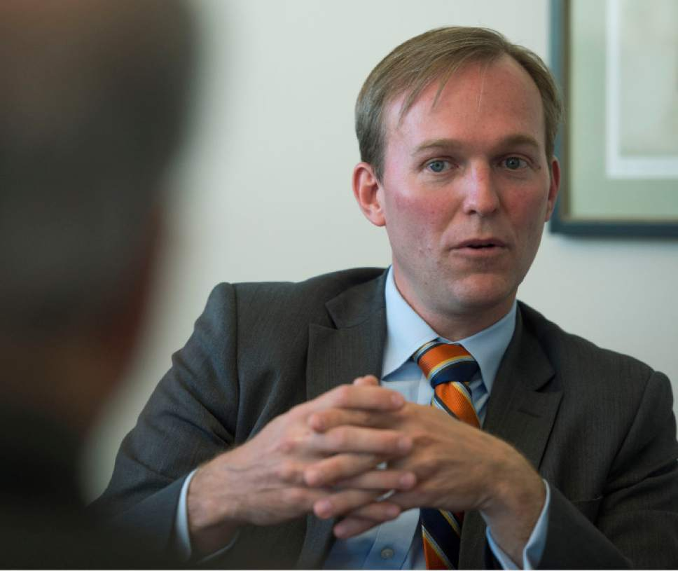 Steve Griffin / The Salt Lake Tribune   Salt Lake County Mayor Ben McAdams meets with the Salt Lake Tribune Editorial Board at the paper's offices in Salt Lake City Monday September 19, 2016.