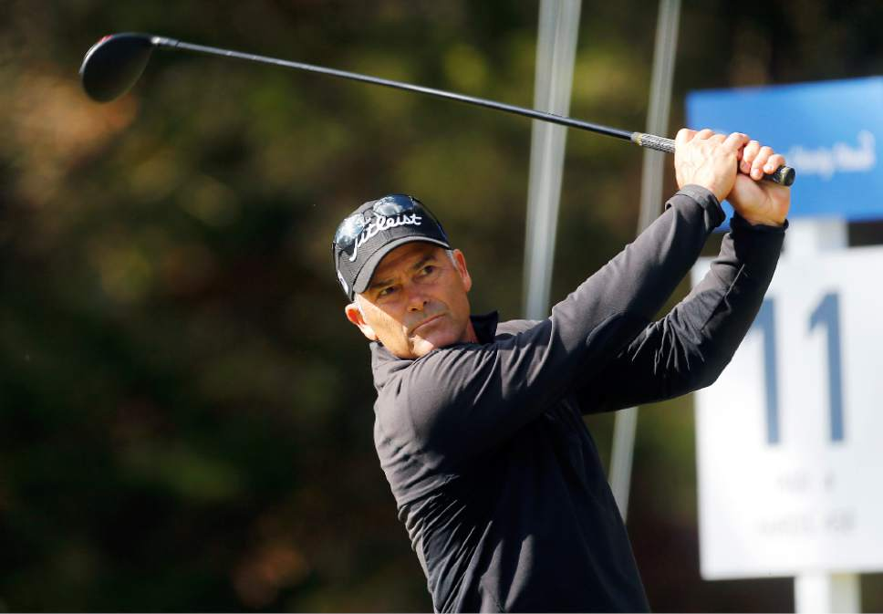 Tom Byrum hits during PGA Tour Champions event at the Country Club of Virginia's James River Course in the Dominion Charity Classic golf tournament in Henrico, Va., Friday, Nov. 4, 2016. (Mark Gormus/Richmond Times-Dispatch via AP)