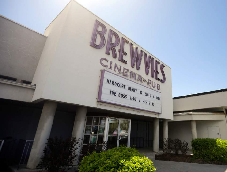 "FILE - This April 18, 2016, file photo, shows the Brewvies Cinema Pub, in Salt Lake City. The theater suing the state after being cited for serving booze with the superhero movie ""Deadpool"" is citing experts who say the film isn't obscene, and serving alcohol with suggestive movies isn't a dangerous combination. (AP Photo/Rick Bowmer, File)"