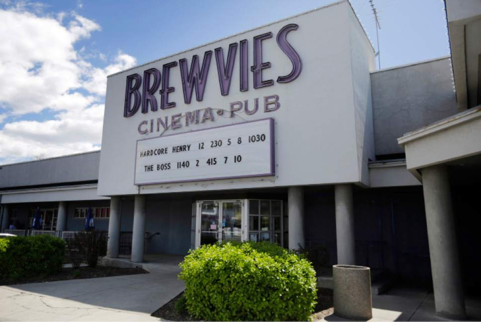 "FILE - This Monday, April 18, 2016, file photo shows the Brewvies Cinema Pub in Salt Lake City. Utah's liquor commissioners sidestepped questions Tuesday, April 26, 2016, about a Salt Lake City movie theater being cited under a state obscenity law for serving drinks during a screening of the movie ""Deadpool."" (AP Photo/Rick Bowmer, File)"