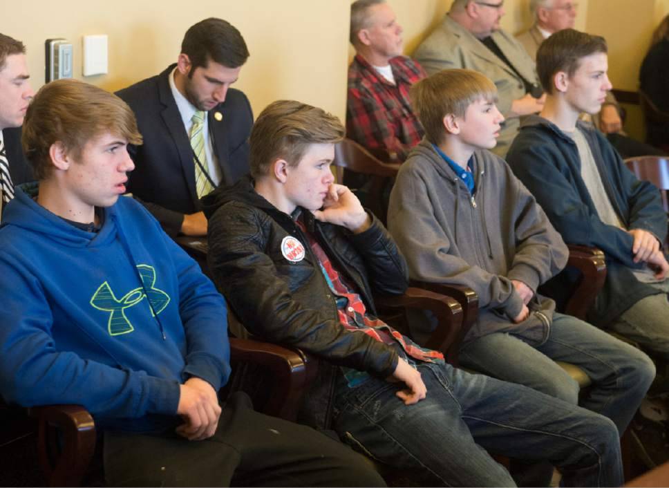 Rick Egan  |  The Salt Lake Tribune  Visitors listen to the discussion about HB281, in the House Law Enforcement and Criminal Justice Committee meeting, Friday, February 19, 2016.
