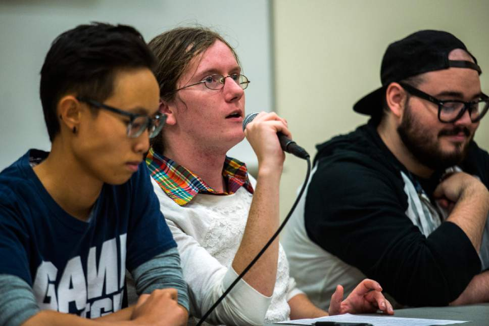 Chris Detrick  |  The Salt Lake Tribune Brianna Cluck, center, speaks during an Understanding Same-Gender Attraction meeting at Provo City Library Thursday October 20, 2016.