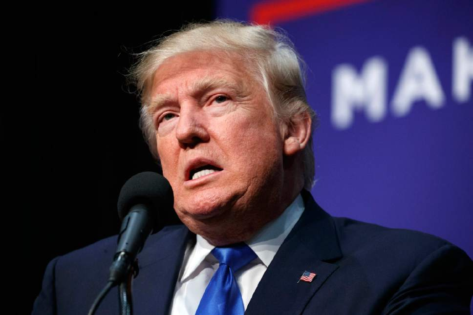 Republican presidential candidate Donald Trump speaks during a campaign rally, Sunday, Nov. 6, 2016, in Sioux City, Iowa. (AP Photo/ Evan Vucci)