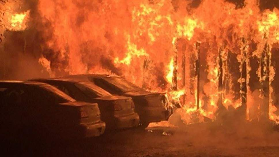 Courtesy of KUTV News  Forty people were evacuated during this two-alarm fire Monday morning at a central Salt Lake City apartment complex.