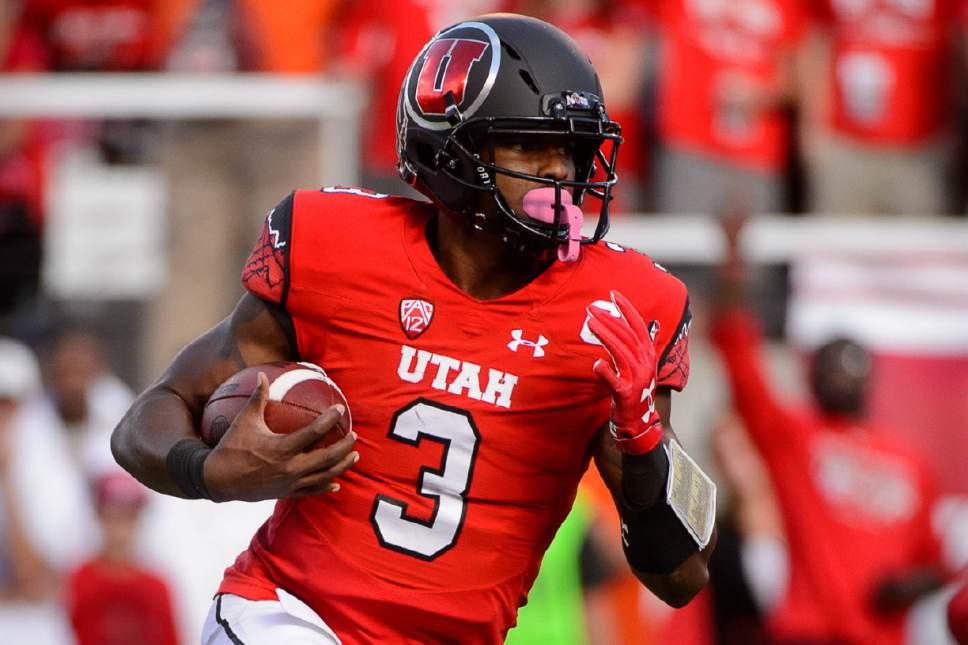 Trent Nelson  |  The Salt Lake Tribune Utah Utes quarterback Troy Williams (3) runs the ball as the University of Utah faces Washington, college football at Rice-Eccles Stadium in Salt Lake City, Saturday October 29, 2016.