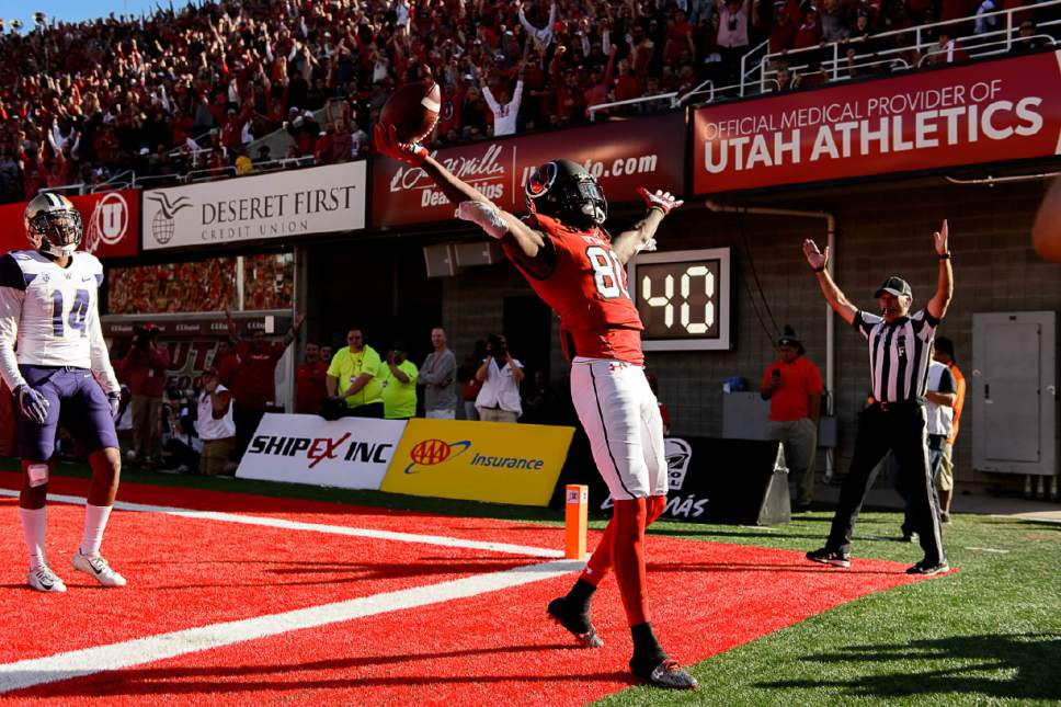 Trent Nelson  |  The Salt Lake Tribune Utah Utes wide receiver Siaosi Wilson (80) celebrates a touchdown as the University of Utah faces Washington, college football at Rice-Eccles Stadium in Salt Lake City, Saturday October 29, 2016.