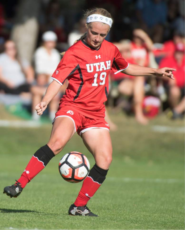 Rick Egan  |  The Salt Lake Tribune  Utah Hailey Skolmoski (19) kicks the ball in soccer action, BYU vs. Utah, at the Ute soccer field, Monday, September 5, 2016.