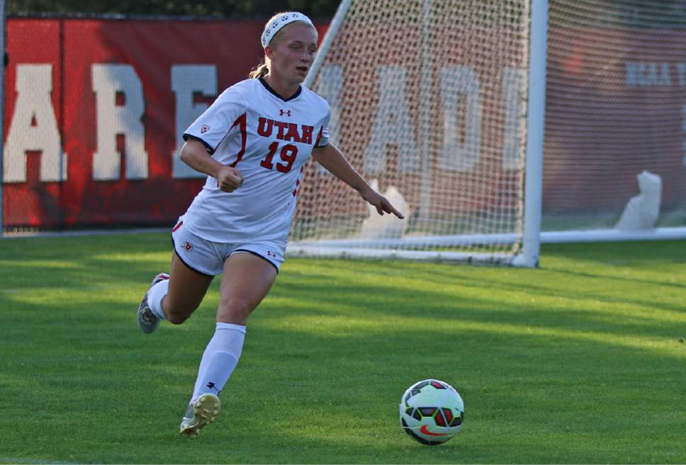 Courtesy  |  Utah athletics  Hailey Skolmoski makes a play for Utah in a game last year. The sophomore defender is one of Utah's key returners for the 2016 campaign.