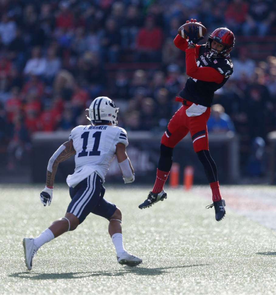 Cincinnati wide receiver Devin Gray, right, catches a pass in front of Brigham Young defensive back Troy Warner (11) during the first half of an NCAA college football game, Saturday, Nov. 5, 2016, in Cincinnati. (AP Photo/Gary Landers)
