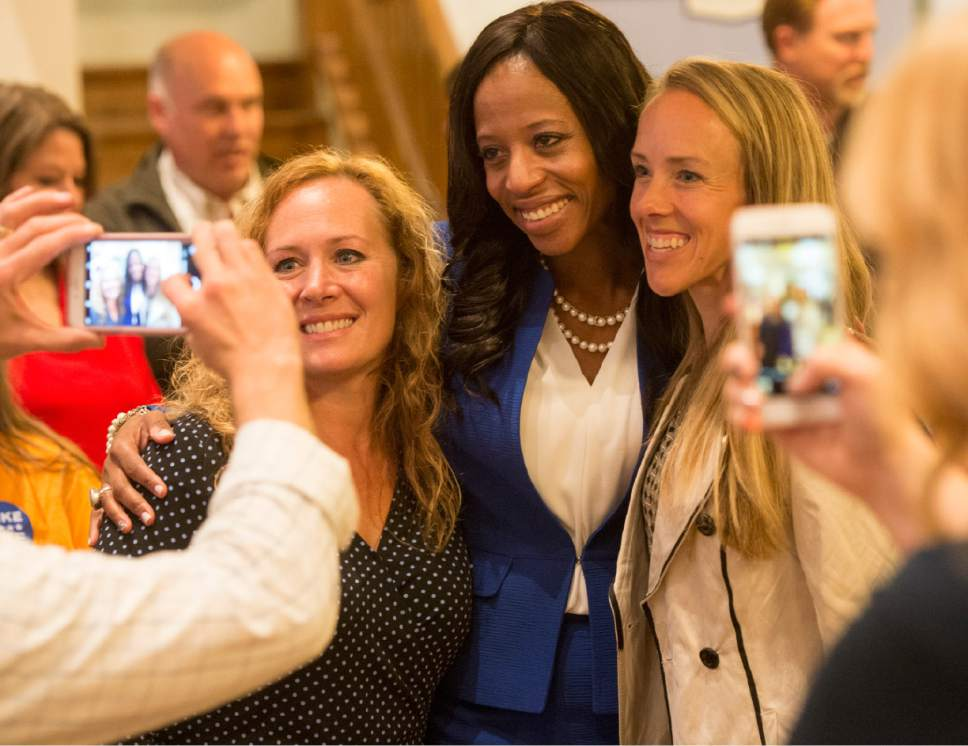 Rick Egan  |  The Salt Lake Tribune Emily Brown gets a photo with Mia Love along with Jennifer Lambert, at Noah's, in South Jordan, Tuesday, November 8, 2016.