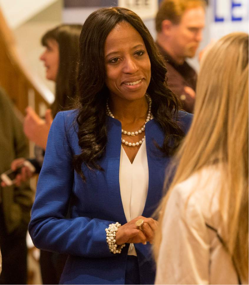 Rick Egan  |  The Salt Lake Tribune  Mia Love visits with supporters at Noah's, in South Jordan, Tuesday, November 8, 2016.
