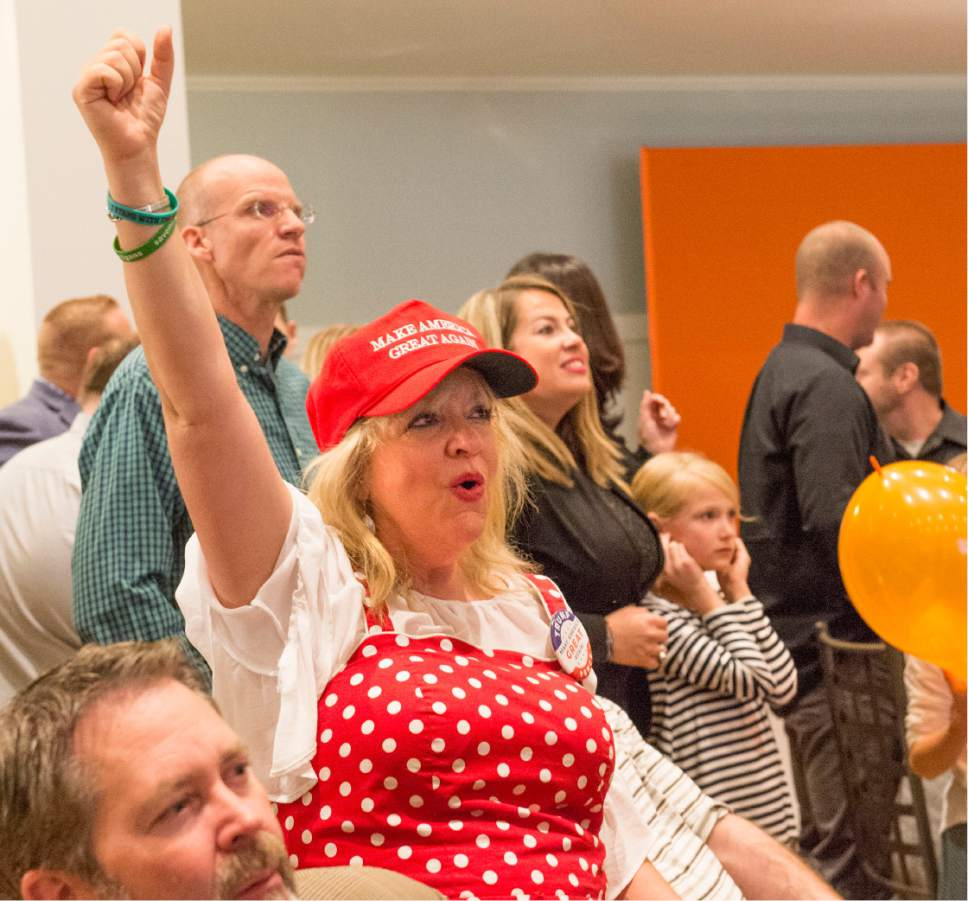 Rick Egan  |  The Salt Lake Tribune  Janalee Tobias cheers as Fox news announces that Donald Trump won the Utah vote, at Noah's, in South Jordan, Tuesday, November 8, 2016.