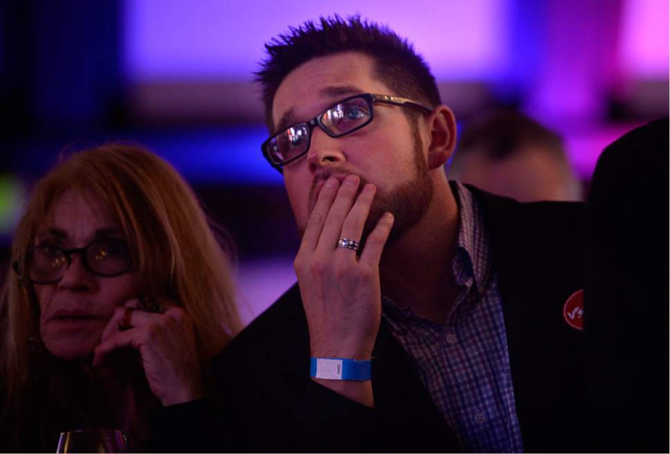Scott Sommerdorf   |  The Salt Lake Tribune   People react to the growing number of states being called for Donald Trump at the Democratic election night party at the Sheraton Hotel, Tuesday, November 8, 2016.