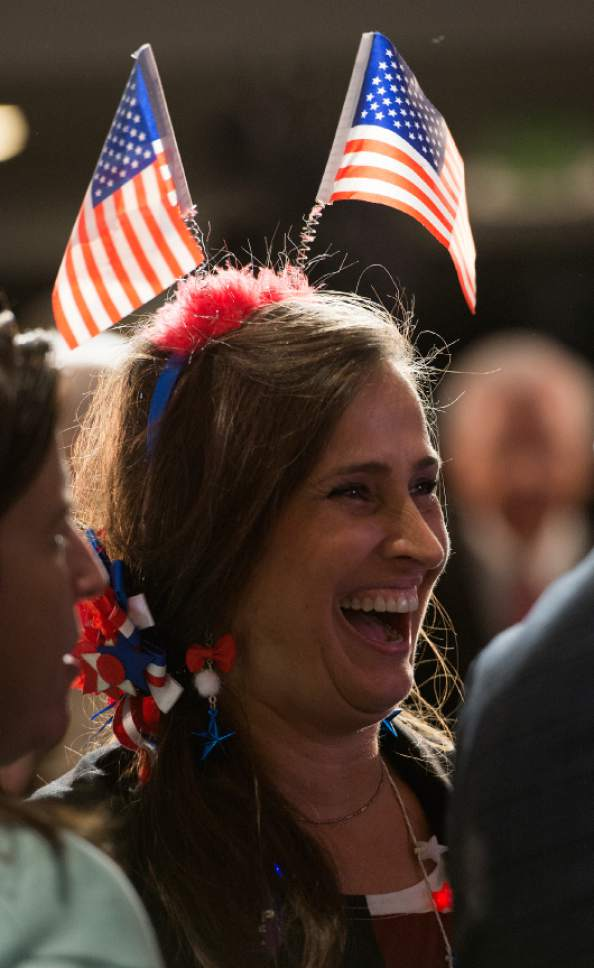 Leah Hogsten  |  The Salt Lake Tribune After news swept the Utah GOP election party that the Associated Press called the election, giving Donald Trump the state of Pennsylvania and its prize of 20 electoral votes, Lisa Shepherd and other celebrated the news.