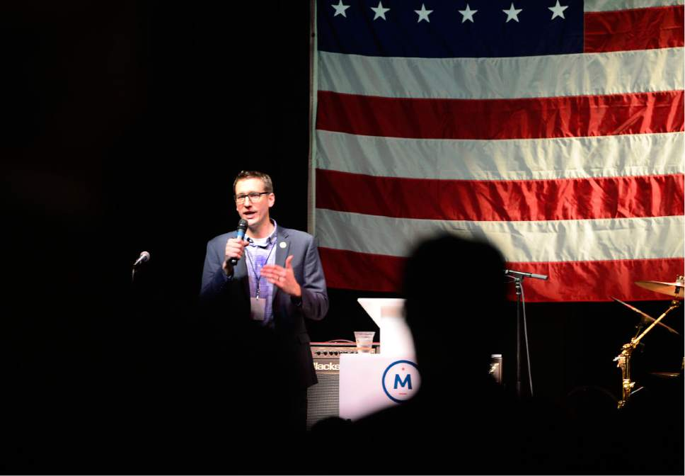 Scott Sommerdorf   |  The Salt Lake Tribune   Presidential candidate Evan McMullin's campaign manager Joel Searby speaks to the crowd gathered at Evan McMullin's election party at The Depot, Tuesday, November 8, 2016.