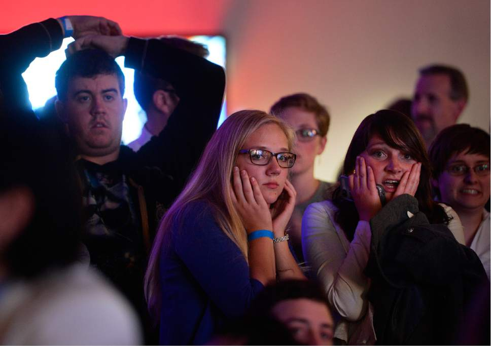 Scott Sommerdorf   |  The Salt Lake Tribune   People in the audience at the Democratic election night party at the Sheraton Hotel react to the announcement that Donald Trump has carried another state, Tuesday, November 8, 2016.