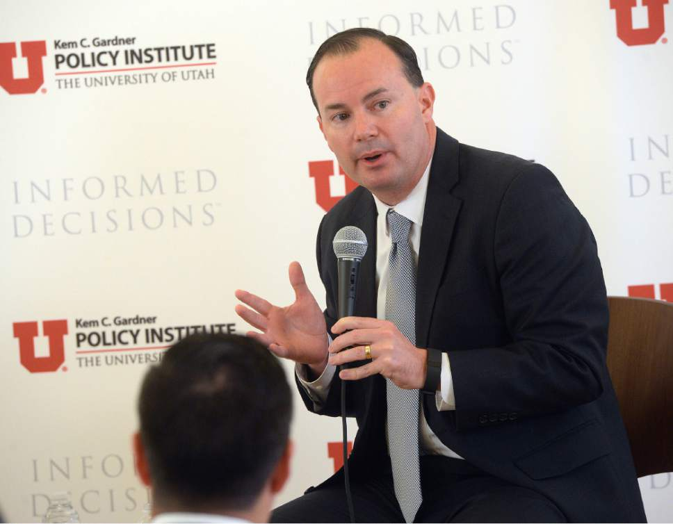 "Al Hartmann  |  The Salt Lake Tribune Utah Senator Mike Lee speaks at ""Newsmaker Breakfast,"" a monthly event highlighting current issues impacting the State of Utah in Salt Lake City Wednesday November 9."