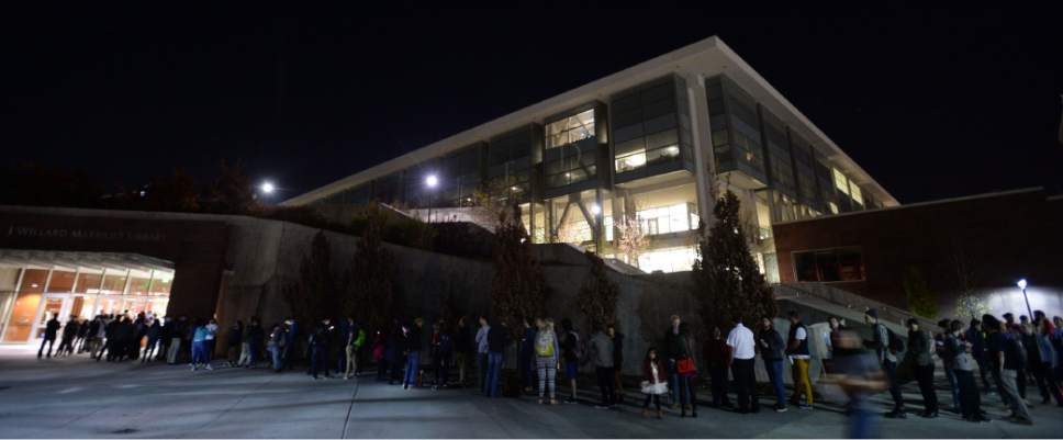 Steve Griffin / The Salt Lake Tribune   Voters wait in long lines to vote at the Marriott Library on the campus of the University of Utah in Salt Lake City Tuesday November 8, 2016.