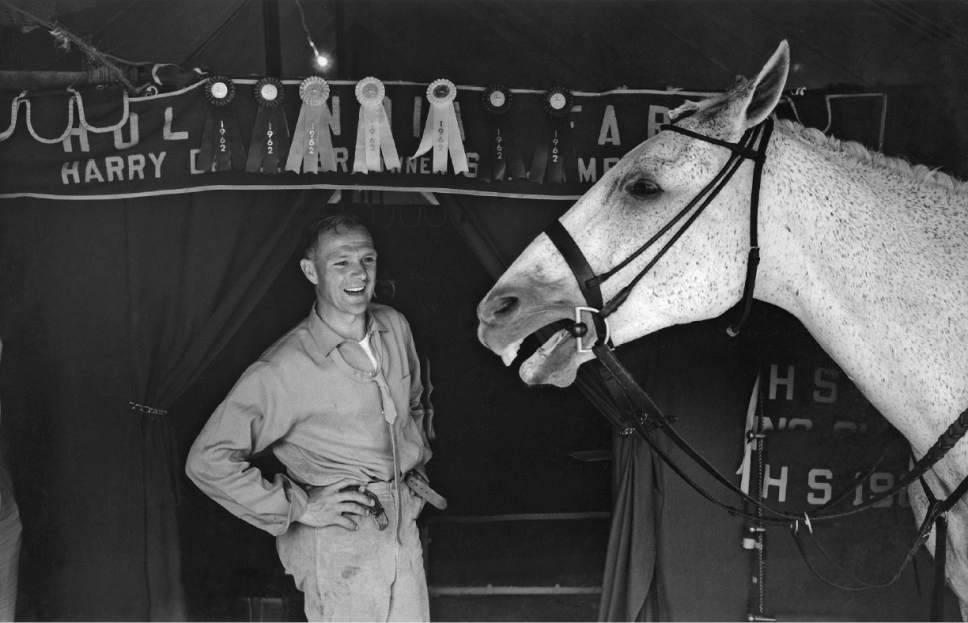 """Horse trainer Harry De Leyer with his prize-winning show jumper Snowman, whose friendship is depicted in the documentary """"Harry & Snowman."""" Courtesy FilmRise"""