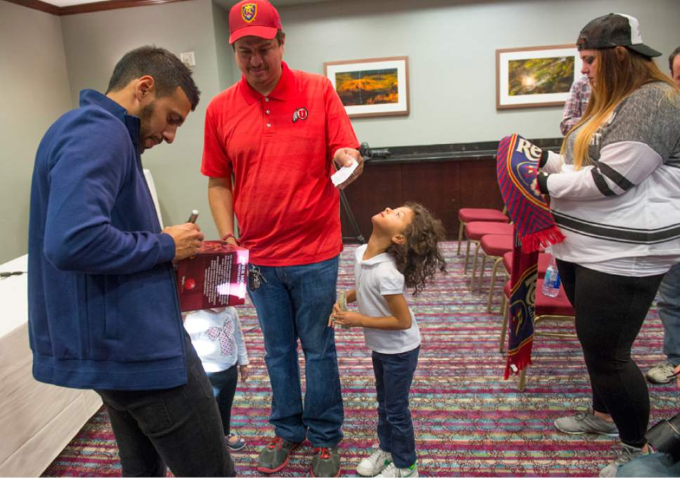 Leah Hogsten  |  The Salt Lake Tribune  Javier Morales gives his autograph after a press conference he called Thursday at the Marriott at City Creek to further clarify why he won't be back at Real Salt Lake in 2017.