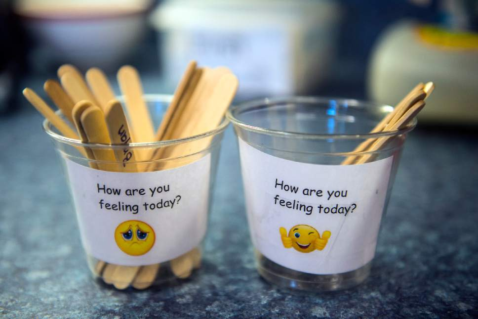 Chris Detrick  |  The Salt Lake Tribune Sticks placed in cups reflecting the mood of students in Christi Paulson's second grade class at Riley Elementary School Wednesday November 9, 2016.