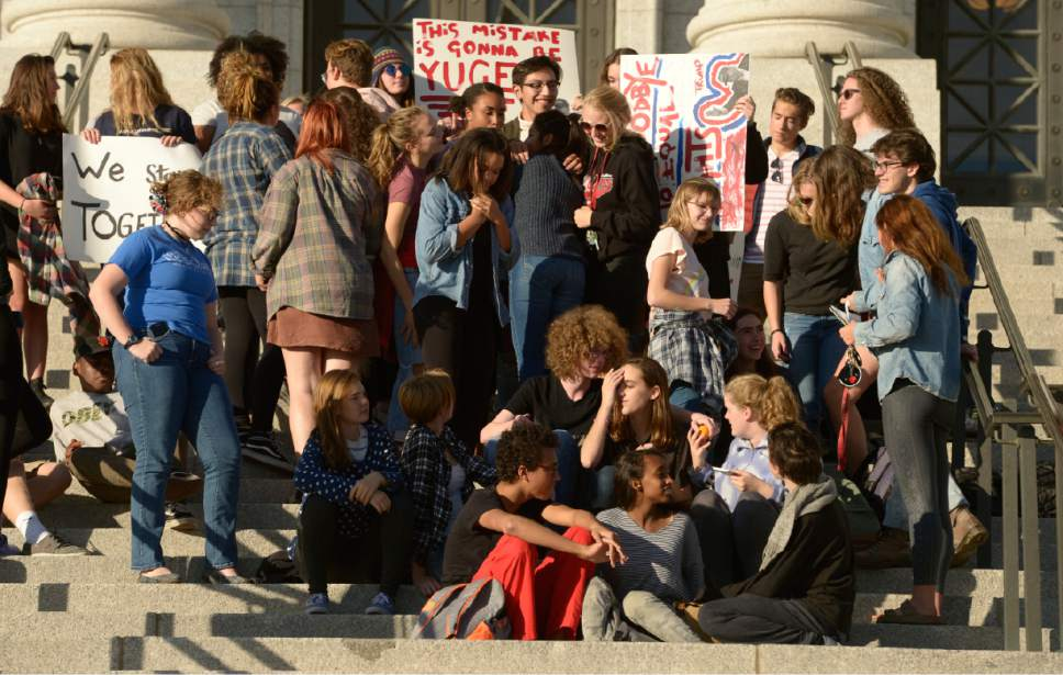 Leah Hogsten  |  The Salt Lake Tribune High school students from Salt Lake City who are afraid, upset and discouraged due to last night's election results held a sit-in at the Utah Capitol to show solidarity for their immigrant and LGBT peers.