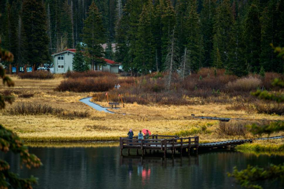 Chris Detrick  |  The Salt Lake Tribune Visitors hike around Silver Lake in Big Cottonwood Canyon Sunday October 30, 2016.