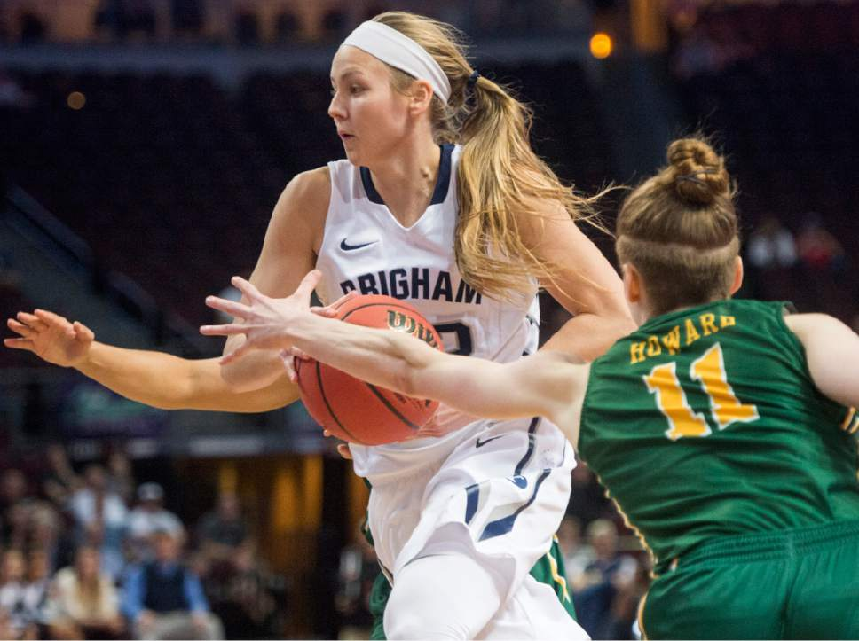 Rick Egan  |  The Salt Lake Tribune  Brigham Young Cougars guard Cassie Broadhead (20) takes the ball inside, as San Francisco Lady Dons guard Rachel Howard (11) defends, in the West Coast Conference Championship game, at the Orleans Arena in Las Vegas, Tuesday, March 8, 2016.