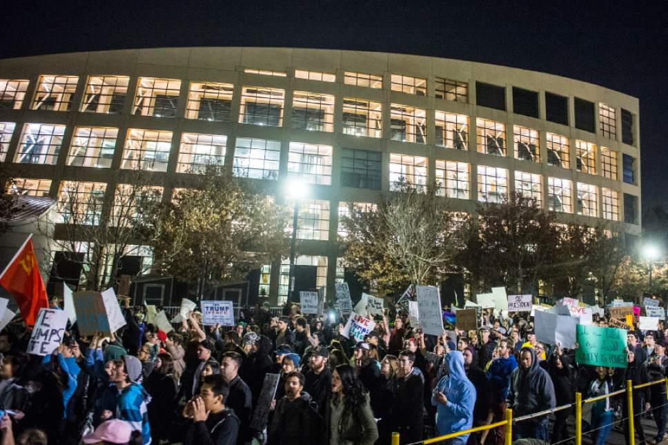 Chris Detrick  |  The Salt Lake Tribune Anti-Trump protestors march in the streets in downtown Salt Lake City Thursday November 10, 2016.