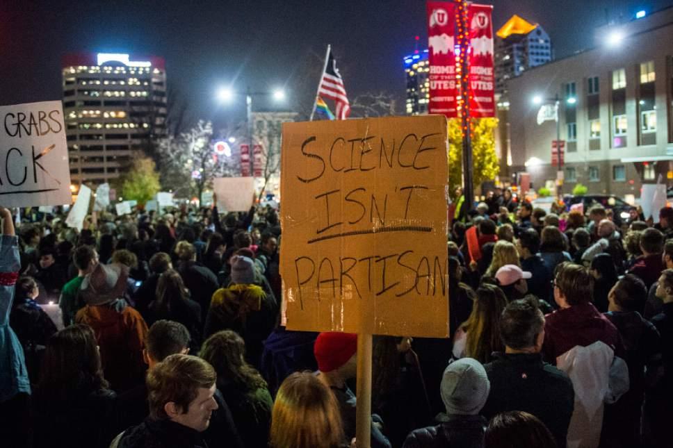 Chris Detrick  |  The Salt Lake Tribune Anti-Trump protestors rally outside of the Wallace F. Bennett Federal Building in Salt Lake City Thursday November 10, 2016.