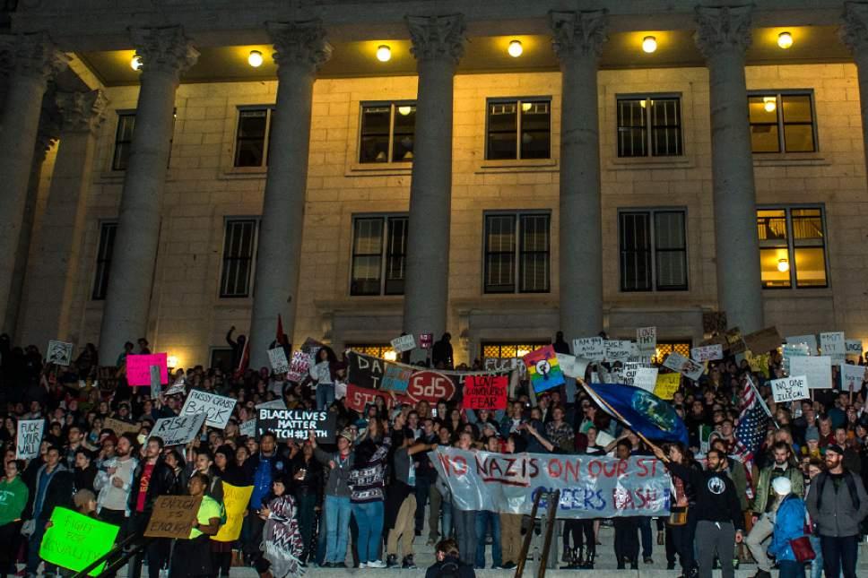 Chris Detrick  |  The Salt Lake Tribune Anti-Trump protestors rally at the Capitol Thursday November 10, 2016.