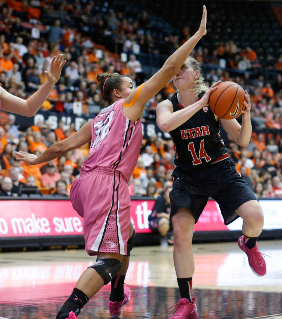 Oregon State's Deven Hunter, left, guards Utah's Paige Crozon, right, in the first half of an NCAA college basketball game in Corvallis, Ore., on Sunday, Feb. 14, 2016. (AP Photo/Timothy J. Gonzalez)