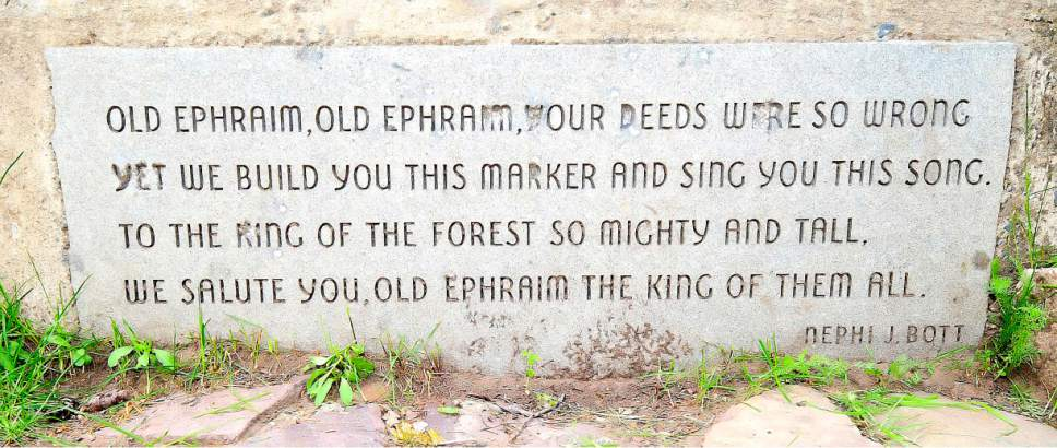 A poem about Old Ephraim is engraved on the monument in this 2011 photo. (Eli Lucero/Herald Journal)