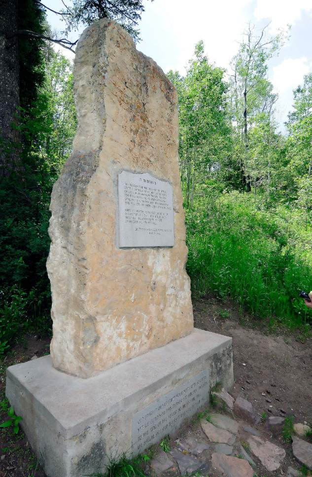 A marker the same height at the bear stands near the site where Old Ephraim was killed in this 2011 photo. (Eli Lucero/Herald Journal)
