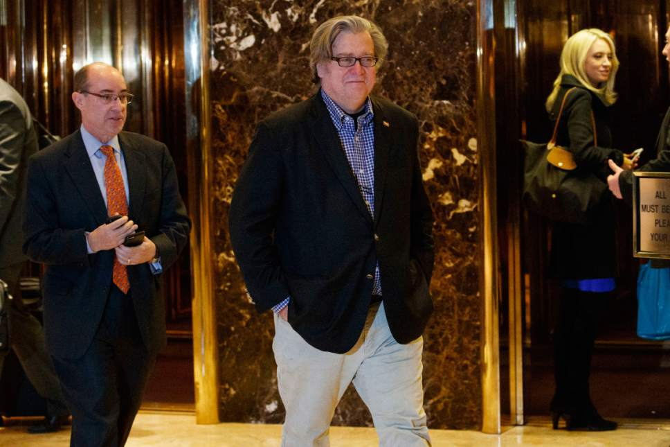 Stephen Bannon, campaign CEO for President-elect Donald Trump, leaves Trump Tower in New York. Trump on Sunday named Republican Party chief Reince Priebus as White House chief of staff and conservative media owner Bannon as his top presidential strategist, two men who represent opposite ends of the unsettled GOP. (AP Photo/Evan Vucci, File)