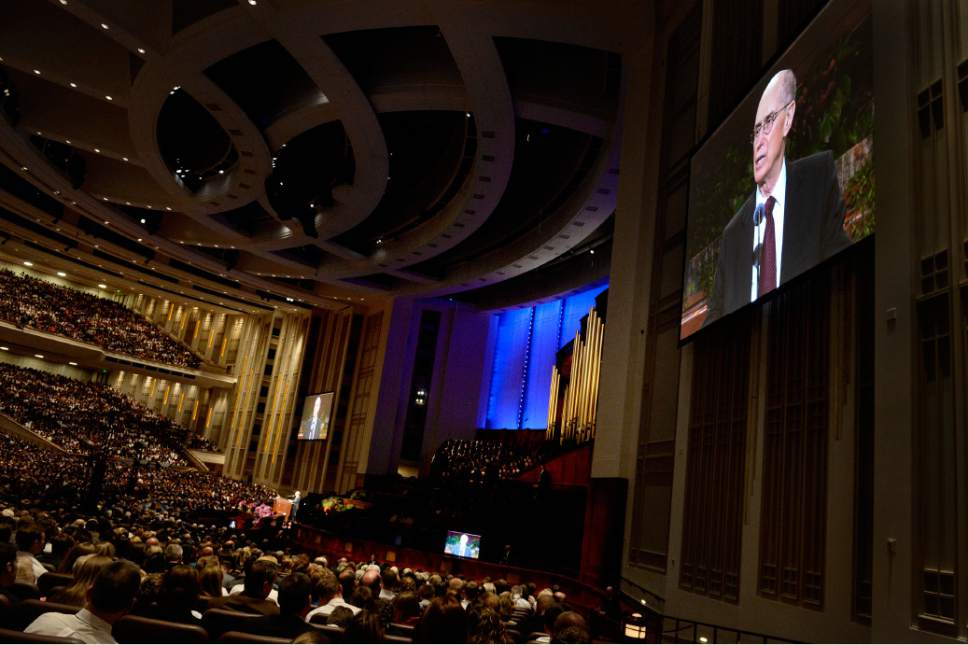 Scott Sommerdorf   |  The Salt Lake Tribune President Henry B. Eyring speaks to close the morning session of the 185th Semiannual General Conference, Sunday, October 4, 2015.