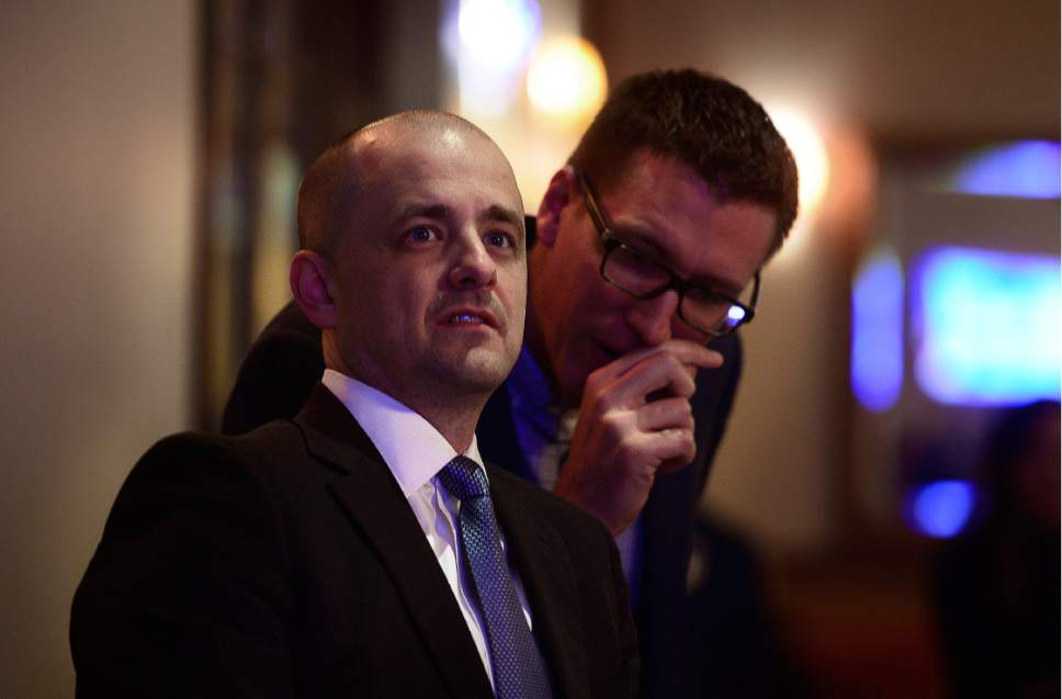 Scott Sommerdorf   |  The Salt Lake Tribune   Presidential candidate Evan McMullin watches early returns with his campaign manager Joel Searby at the McMullin election night party at The Depot, Tuesday, November 8, 2016.