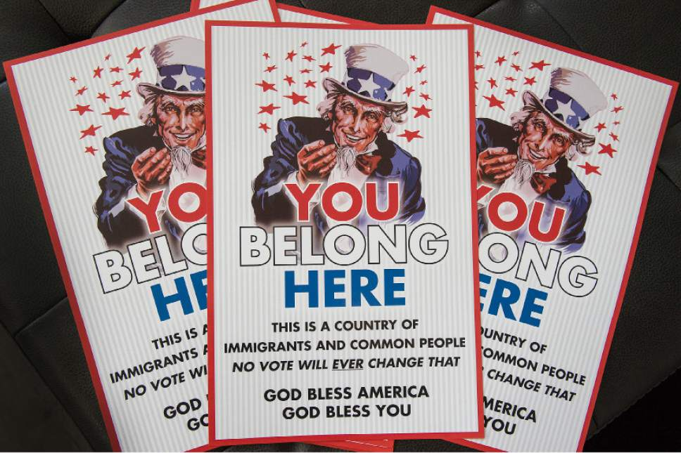 "Leah Hogsten  |  The Salt Lake Tribune Austin Hudson, a graphic designer, made hundreds of ""Uncle Sam"" posters to tell immigrants, Muslims and others that ""you belong here."" Although Hudson had hoped to remain anonymous, friends and neighbors concluded he was the culprit and now hundreds have been placed throughout the community."