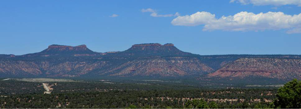 Scott Sommerdorf   |  The Salt Lake Tribune   A view of the Bears Ears as seen from a spot near the Kane Gulch BLM Ranger Station in San Juan County, Thursday, July 14, 2016. U.S. Interior Secretary Sally Jewell is visiting the area on fact-finding visit about the Bear Ears National Monument and Public Lands Initiative proposals.