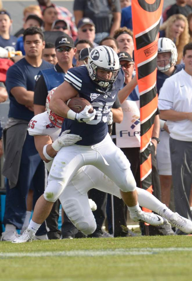 Leah Hogsten  |  The Salt Lake Tribune Brigham Young Cougars running back Brayden El-Bakri (35) had four catches for 69 yards in the first half. . Brigham Young University leads Southern Utah University 31-7 during their first match up at LaVell Edwards Stadium,  Saturday, November 12, 2016.