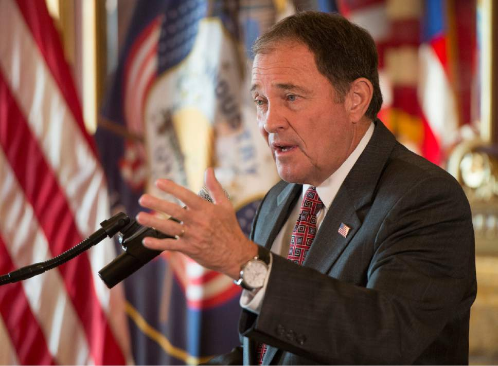 Rick Egan     The Salt Lake Tribune  GOv. Gary Herbert answers questions from the media, after a press conference, at the Utah State Capitol, Thursday, November 10, 2016.